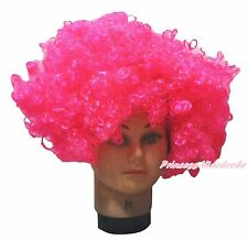 Halloween Hot Pink Afro Curly Wig Unisex Costume HA31