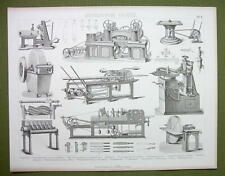 MILLING & Filing Machines Wood Steel Tenon Grinding etc - 1870s Print Engraving