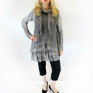 NEW Jessica Taylor Plus Charcoal Grey Lace Overlay Sheer Scarf Tunic Blouse 3X