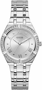 Guess Silver Tone Bezel Crystals Stainless Steel Analog Women's Watch GW0033L1
