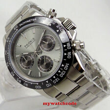 39mm PARNIS gray dial sapphire glass solid full Chronograph quartz mens watch