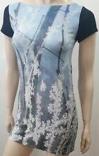 AGNES B Blue Grey White & Black Woodland Print Photographie T-Shirt Tee 1/S