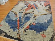 Modern Abstract Rug  7x7 square abstract wool hand-knotted Beige Blue