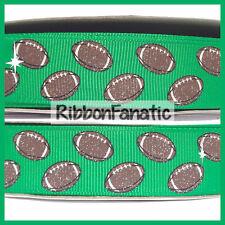 "3 yds 7/8"" Glitter Brown Footballs on Emerald Green Grosgrain Ribbon"