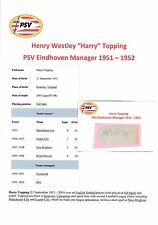 HARRY TOPPING PSV EINDHOVEN MANAGER 1951-1952 RARE ORIGINAL SIGNED CUTTING/CARD