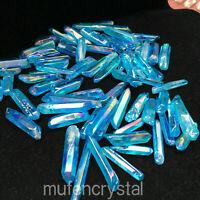 Blue titanium rainbow aura lemurian quartz crystal wand point healing 50g