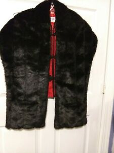 Black Faux Fur Stole Cape Wrap One Size Fits All By Cato 3 Avail. New