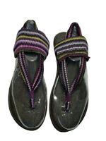 Sanuk Slingback Sandals Womens Sz 10 Yoga Mat Teal Flats Shoe Thong Summer