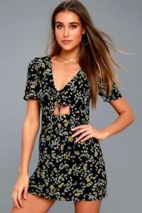 FREE PEOPLE Jinx Floral Tie Romper in Black Size US 6/ AUST 10, NWOT [RRP $145]