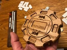Mexican Train Hub with Train and Pocket carvings - made of Solid Oak - IG19 oak