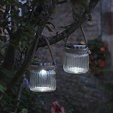 Smart Garden Cornish Jar Solar Power Lantern Rope Glass Patio Outdoor Light