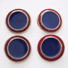 Set di 4 Tono Argento Rosso Scuro Blu Bottoni Metallici FAB DESIGN 26mm pulsanti CLASSIC