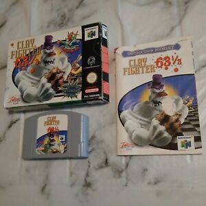 """RARE """"Clay Fighter 63 1/3"""" N64 UK PAL COMPLETE VGC - GENUINE & FULLY ORIGINAL"""