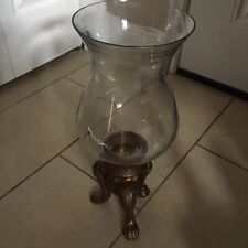 "Extra Large Antique Brass Crystal Hurricane Pillar Candle Holder 19""H"