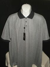 NWT Andrew Fezza  Gray Striped Cotton Blend Polo Shirt size  2XL