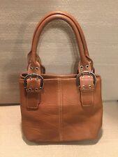 Elegant Clarks Brown Genuine Leather Satchel Purse Handbag Great Condition