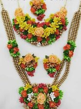 Artificial Flower Jewelry Indian Haldi Pearl Wedding Floral Necklace Set 5 Pcs