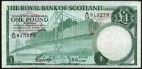 1969 ROYAL BANK OF SCOTLAND LIMITED £1 BANKNOTE * A/10 815278 * gVF *