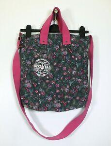 JACK WILLS blue, pink & green floral canvas lined crossbody shoulder tote bag