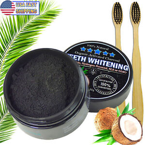 Charcoal Teeth Whitening Powder Natural Activated Charcoal Coconut 2 Toothbrush