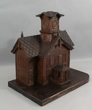 Large Antique Black Forest Folk Art Hand Carved Walnut School House, Music Box
