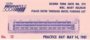 1981 Indy 500 Hulman Turn Suite Practice Day ticket stub Bobby Unser Win