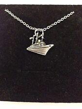 "Ocean Liner r200 peltro inglese su una collana placcato argento platino 18"""