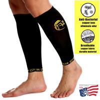 Copper Infused Calf Compression Sleeve Socks Leg Shin Splint Support Brace Sport