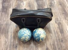 VINTAGE Duck Pin Blue Swirl Bowling Balls Set of 2 w/ bag EUC