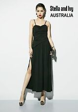 black cocktail party evening maxi dress size 10 au womens new
