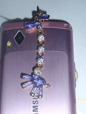 Cute Purple crystal giraffe dust earphone plug 4r mobile iphone note tablet sony