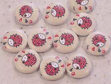 15 x Ladybird Design White Wooden Buttons 15mm FREE P&P