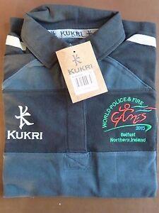 *Kukri Ladies Rugby Polo Shirt-Black/dark grey-size 6-14-BNIB/World Fire&Police*