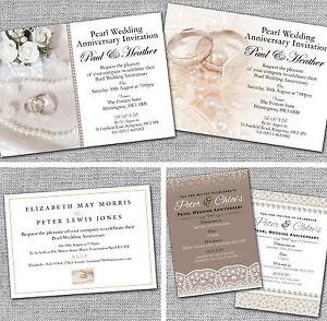 Personalised Pearl 30th Wedding Anniversary Invitations Invites