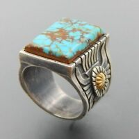 Wholesale Handmade 925 Silver Turquoise Ring Women Men Vintage Jewelry Size 6-12