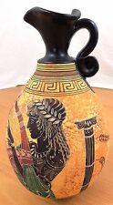 "Grecian Replica 9"" Pottery Vase Pitcher Period 500 B.C. Harpist & Dove Handmade"