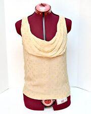J Crew Women's Career Blouse Tank Top Size 2 Silk Metallic Chiffon Cowl Neck Tan
