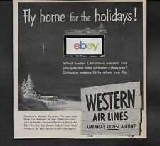 WESTERN AIRLINES 1951 FLY THE CONVAIR 240 HOME FOR THE HOLIDAYS AT CHRISTMAS AD