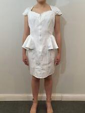 Vintage 1980s Peplum Dress 100% Cotton White Bare Back Lace Applique Size 11 USA