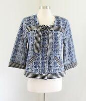 CAbi Blue Club Jacket Size M Knit Style 5294 Blue White Black Printed