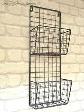 Vintage Industrial Style Metal Wall Shelf Unit Letter Rack Storage Baskets New