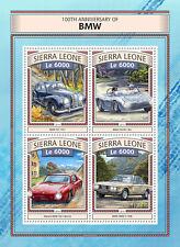 Sierra Leone 2016 MNH BMW 100th Anniv 4v M/S Cars Motoring Stamps