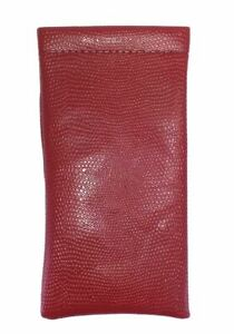 Spring Top Eyeglass Case Snap Closure Snake Skin Syn. Leather in Green,Red,Brown