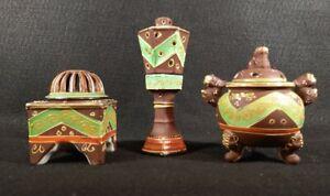 3 vintage  1930's Satsuma Censer Incense burners