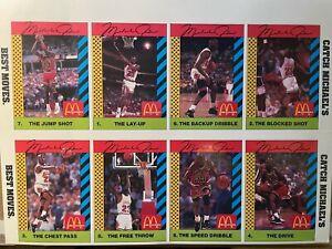 EXTREMELY RARE 1990 McDonalds Michael Jordan UNCUT COMPLETE SET PINK BACK! - Chi