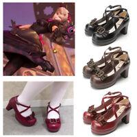OW D.va DVA Black Cat Luna Women Girl Gothic Lolita Cross Strap Cosplay Shoes