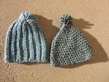LOT OF 2 AQUA ADULT WINTER STOCKING CAP HAND CROCHETED WARMTH 2 AQUA MULTI