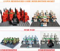 13Pcs lego Minifigures Star Wars 501st TROOPER Clone Trooper Printed Custom MOc