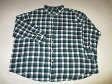 John Ashford Mens 4XB Green Black & White Plaid Flannel L/S Button Down Shirt