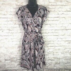 NEW Banana Republic Factory Paisley Faux Wrap Short Sleeve Belted Dress XSP